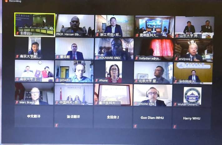 Benha University participates in the Virtual Tripartite Higher Education Forum between China, France and Africa